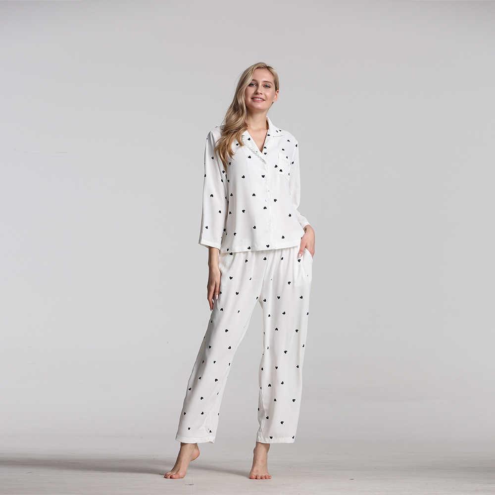 Pyjama voor vrouwen Katoen pijamas vrouwen 2019 nieuwe vrouwen pyjama Nachtkleding lange mouwen pyjama set vrouwen twee stuk pijama
