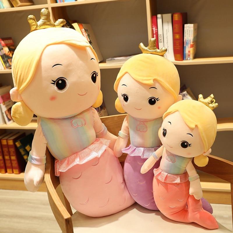 Beautiful Crown Mermaid Plush Toy Kids Girl Cartoon Stuffed Little Mermaid Doll Home Decoration Girls Girlfriend Birthday Gifts