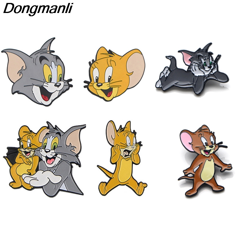 K730 кошки и мыши мультфильм аниме металлические эмалированные булавки и Броши Модные нагрудные булавки рюкзак сумки значок коллекция подар...
