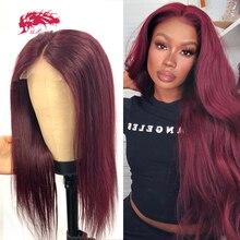 Em linha reta borgonha peruca dianteira do laço ali rainha 300% densidade ombre cor brasileira remy perucas de cabelo humano fechamento do laço perucas para mulher