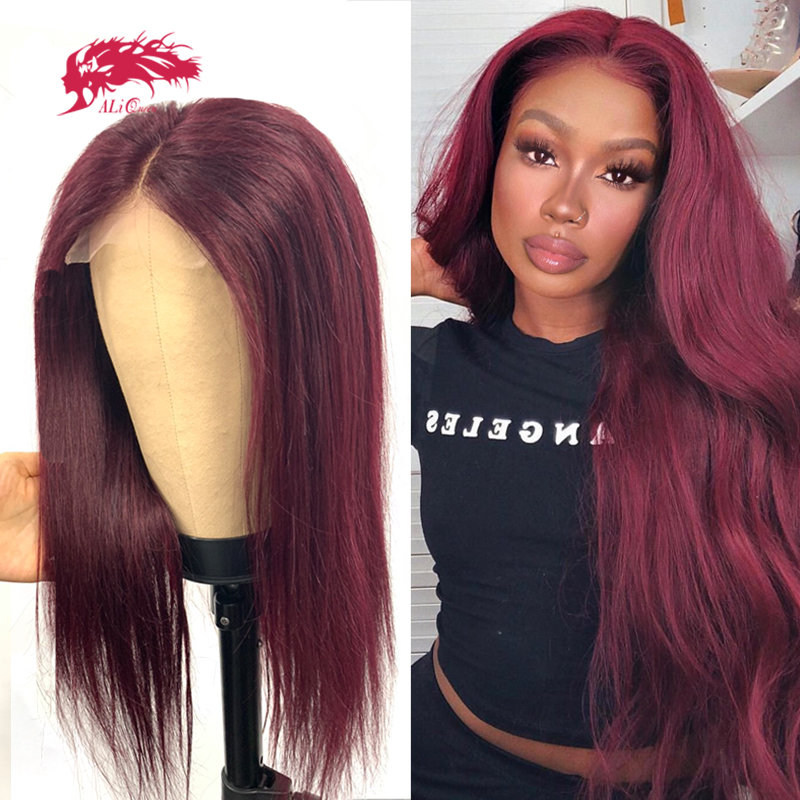 Straight Burgundy 13x4 Lace Front Wig Ali Queen Ombre Color Brazilian Remy Human Hair Bundle With Lace Closure Wigs For Women