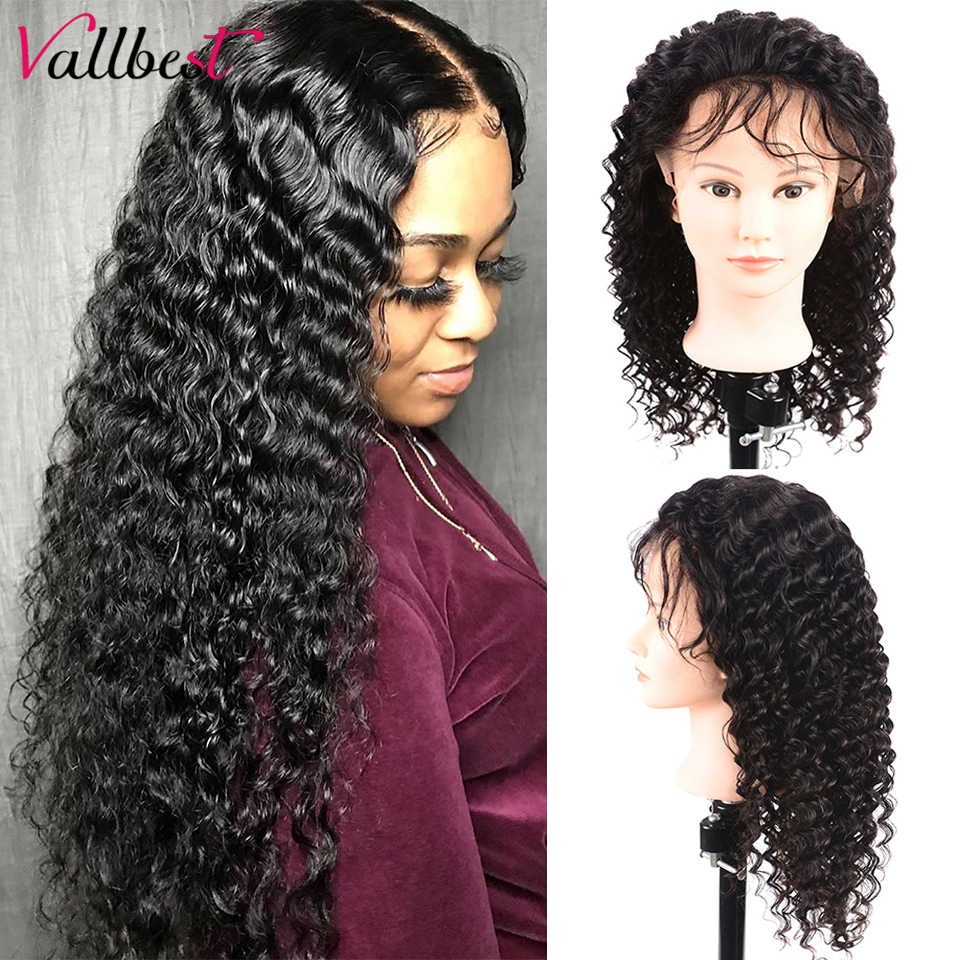 Vallbest Brazilian Deep Wave Wig 150% Density Lace Front Human Hair Wigs For Black Women Pre Plucked Remy 13X4 Lace Frontal Wig