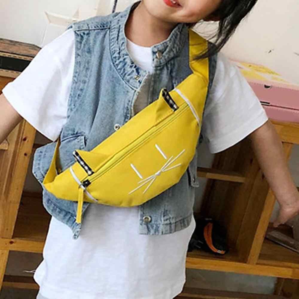 Enfants couleur unie bande dessinée mignon impression sacs à bandoulière pour enfants garçons filles décontracté taille Fanny ceinture paquets toile Zipper poitrine sacs