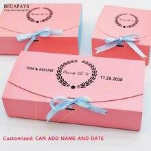 Caja de caramelos para boda personalizados, guirnalda con contraste de color rosa y azul, caja para pastel de boda dorado, recuerdos para fiesta de bienvenida de bebé, regalos de Navidad, 50 Uds.