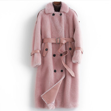 Płaszcz różowy prawdziwe futro koreański najwyższa jakość 100 wełny płaszcz 2020 jesień zima kurtka kobiety odzież płaszcze z owczej skóry kobiet topy s tanie tanio Prawdziwej skóry Futra jagnięcego Pani urząd Dwulicowy futro Skręcić w dół kołnierz Podwójne piersi REGULAR Pełna
