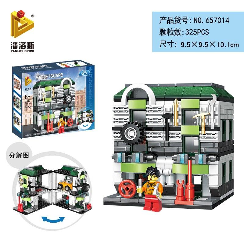 Mini Lego City Street View Block Retail Store Restaurant DIY Building Blocks Compatible lego technic Tech Building kids Toys - Цвет: 657014