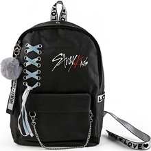 Kpop Stray Kids Backpack Large Capacity School Bags with Crossed Ribbon Plush Ball Pendant Stray Kids Travel Bag Fans Collection