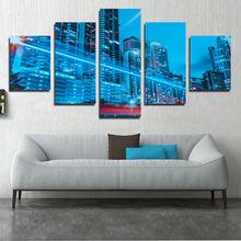 Синий Городской Пейзаж Плакат Искусство Настенная Печать холст