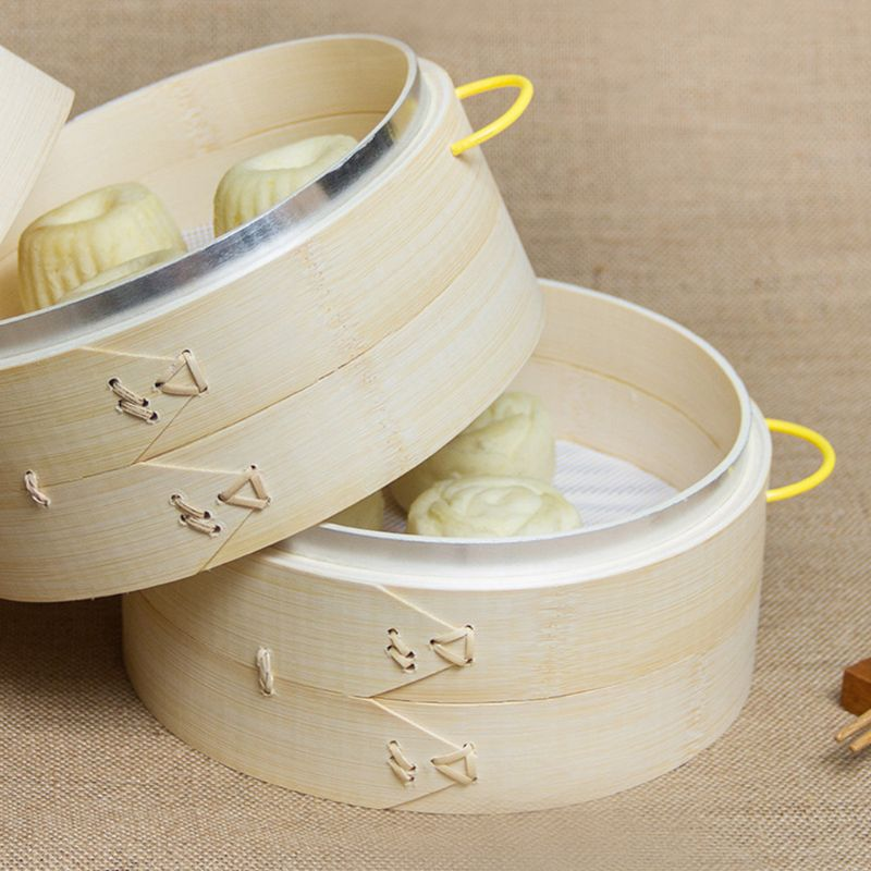 2 Tier with Lid Bamboo Steamer Basket Asian Food Steamer for Dim Sum Dumplings