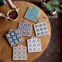 Marroquí Vintage patrones de Mantel para aislamiento del calor montaña rusa de esteras almohadillas decoración de la Mesa de 16,5*19,5 cm