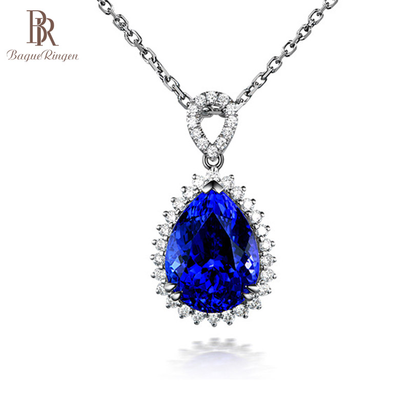Bague Ringen Luxury Water Drop Shaped Gemstone Pendant Sapphire Necklace For Women Silver 925 Jewelry Engagement Party Banquet