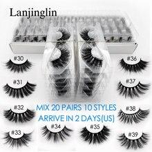 Faux cils 3d en vison, mélange de 10 styles, naturels, longs, fait à la main, vente en gros, 20 paires