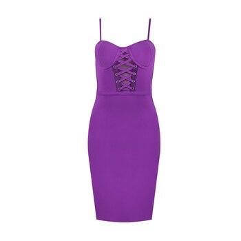 Free Shipping Ladies Sexy Purple Red Black Women Bandage Dress 2020 Celebrity Designer Fashion Evening Party Dress Vestido 4