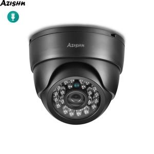 Image 1 - Azishnセキュリティオーディオipカメラ3MP 1080 720p屋内ナイトビジョンcctvのホームセキュリティビデオ監視ドームカメラonvif 48 12v poe