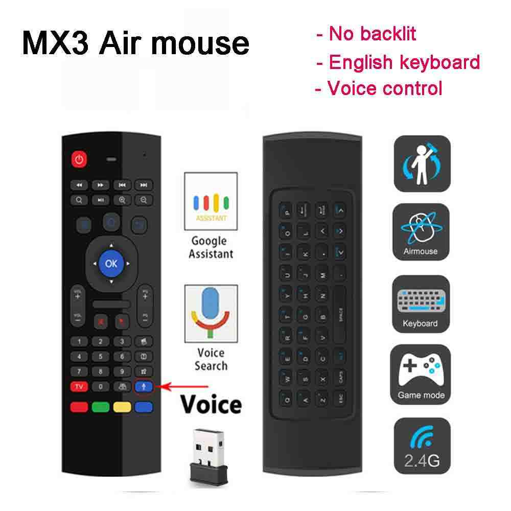 SATXTREM MX3 Air Mouse Fly Mouse Control remoto por voz 2,4G teclado inalámbrico para X96 H96 MAX + KM9 KM3 TX6 Android TV Box