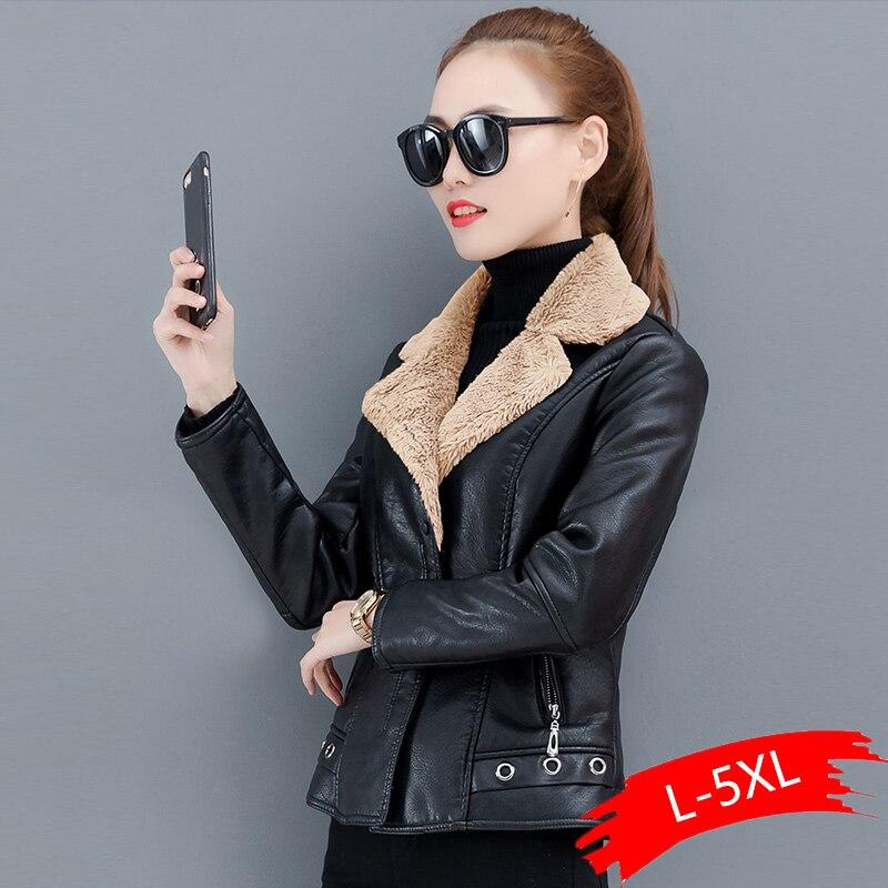 Autumn Winter Warm Faux Fur Coat Women Leather   Jacket   Ladies Slim Moto Biker   Basic     Jackets   Plush Casual Outerwear