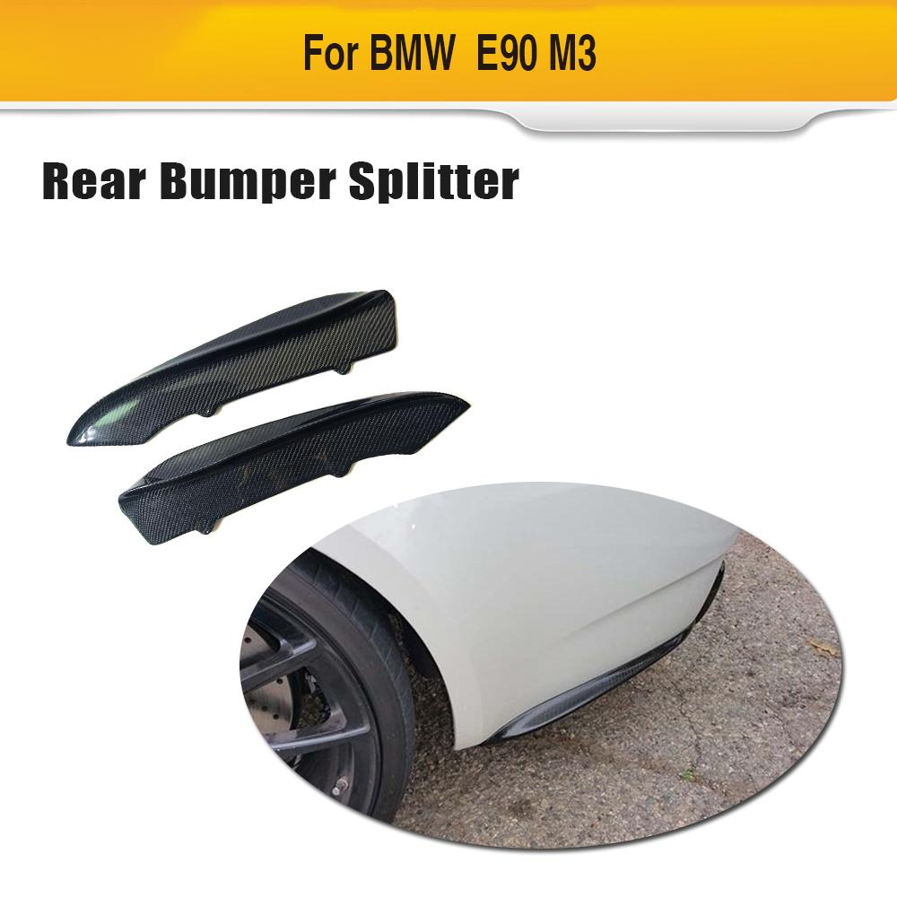 Car Rear Bumper Splitters For BMW E90 M3 Sedan 2006 - 2011 Carbon Fiber Diffuser Lip Spoiler image