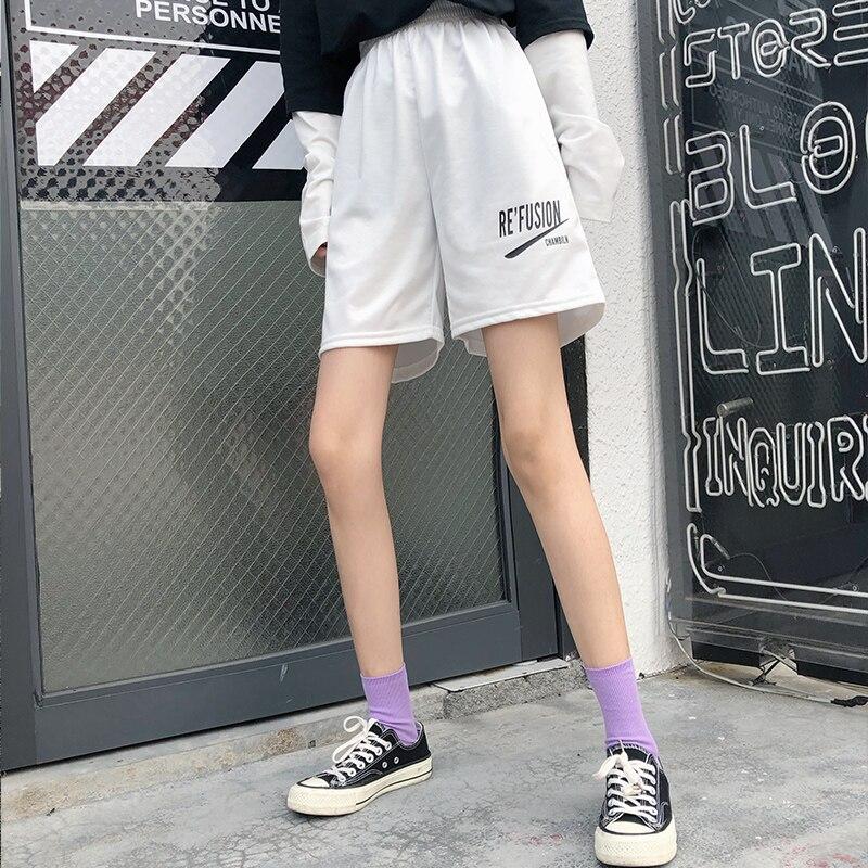 Cec Summer Korean Bf Wind Black Comfortable Women's Five Women Straight Loose Wide Leg Casual Sports Shorts Ins Tide