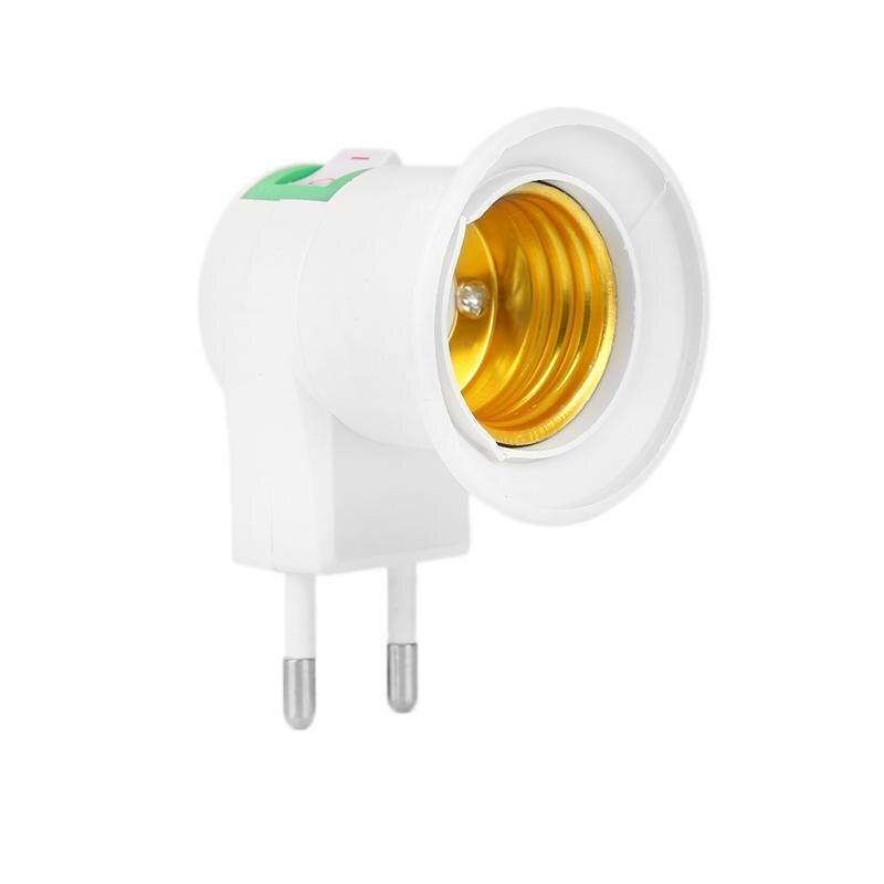 E27 220V EU US Plug Adapter Converter ON/OFF For Bulb Lamp Socket  Adapter On-Off Switch E27 LED Light Socket To EU Plug Holder