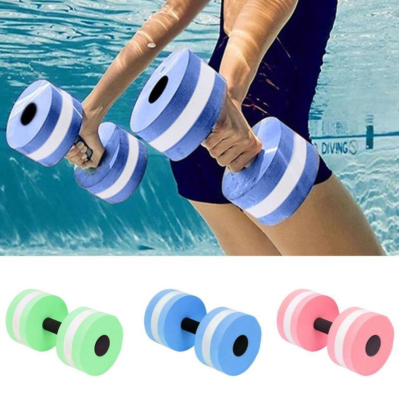 2 stücke EVA Schaum Aqua Hanteln für Wasser Aerobic Automatische Schwimmen Pool Float Aquatische Barbell Für Wasser Yoga Fitness