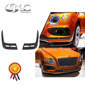 Car-Styling Carbon Fiber Canards Fit For 15-18 Bentayga Mulliner Carbon Package Style Front Bumper Air Duct Intake Addon Cover image