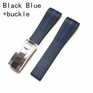 Image 4 - 20 مللي متر 22 مللي متر أسود أزرق منحني نهاية سيليكون المطاط حزام الساعات ل دور حزام RX طاقم الغواصة GMT D الأزرق 126660 البحر Dweller سوار