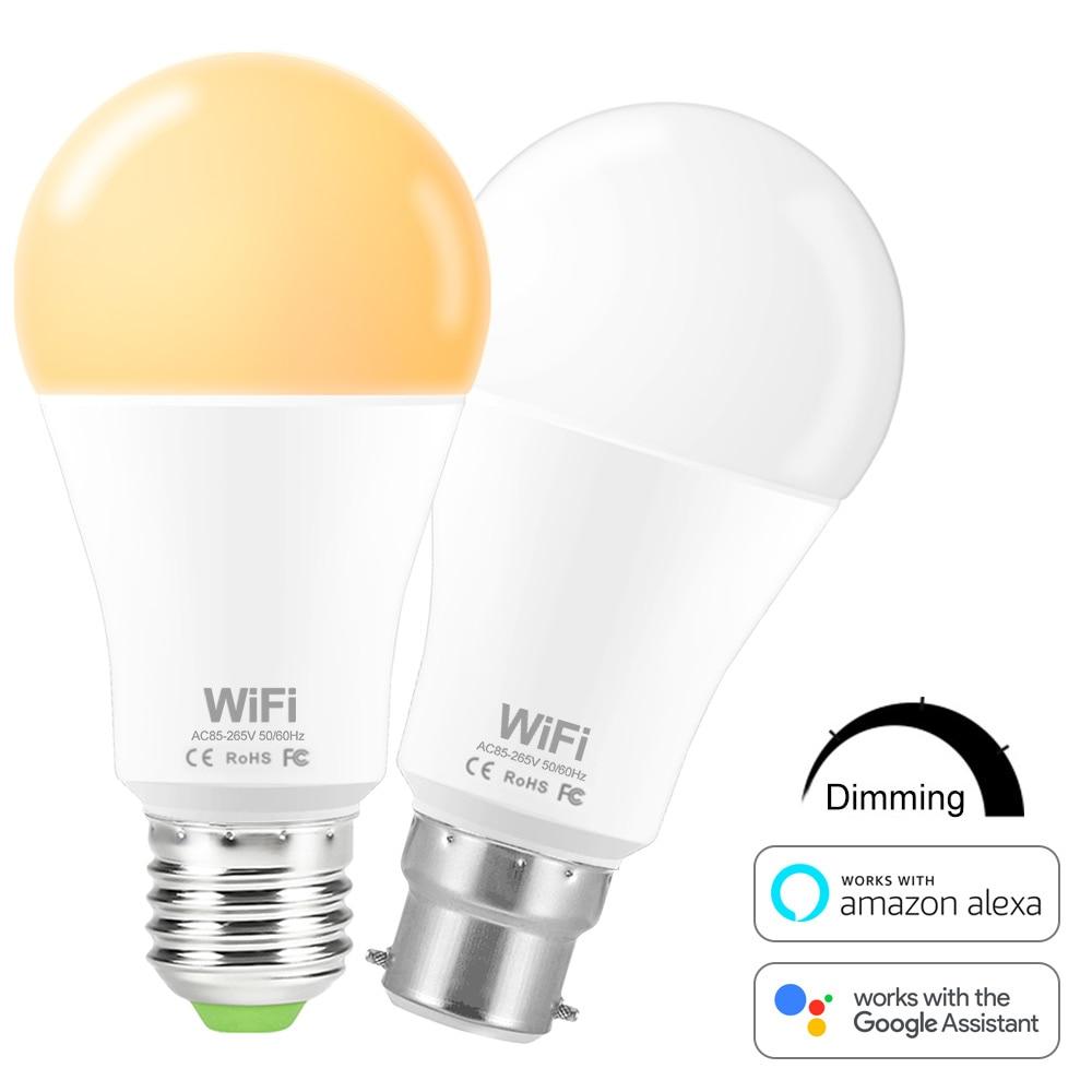 Умный светильник, лампа Wifi, Светодиодная лампа 15 Вт, светодиодная лампа E27 B22 с регулируемой яркостью, умные светодиодные лампы, WiFi Домашний С...