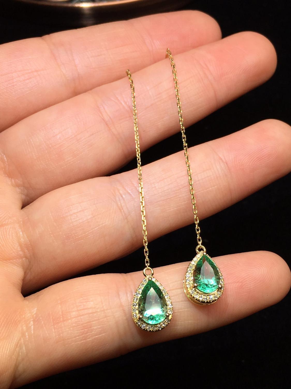 Bijoux fins or 18K AU750 colombie origine vert émeraude 1.62ct pierres précieuses diamants femme boucles d'oreilles pour femmes boucles d'oreilles fines