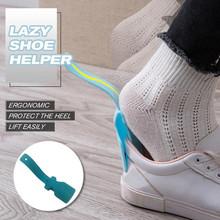 Leniwy pomocnik do butów przenośny skarpety suwak obsługiwane łyżka do butów pomocnik do podnoszenia butów łatwy podnośnik do butów elastyczny solidny poślizg leniwy pomocnik tanie tanio Z tworzywa sztucznego Lazy Shoes Helper Lazy Shoe Helper Portable Sock Slider Handled Shoe Horn Shoe Lifting
