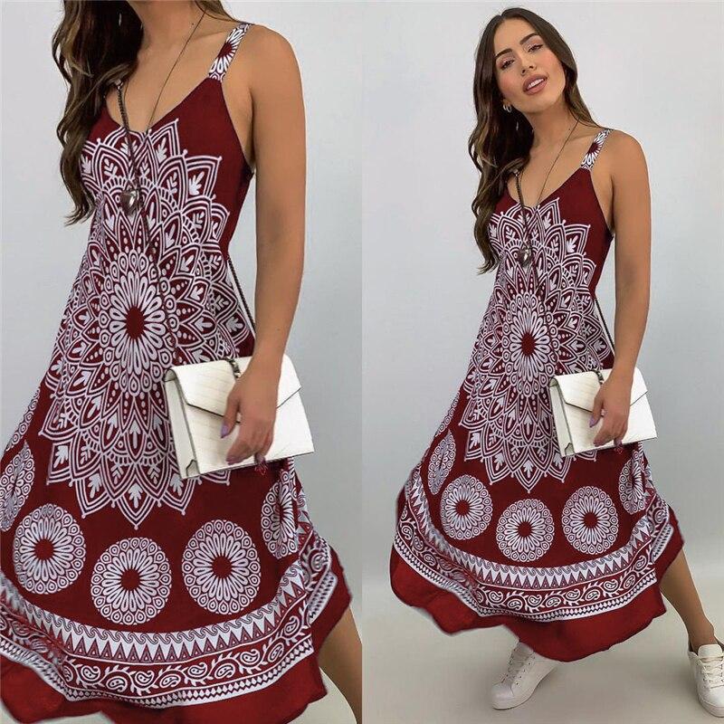Fashion Women Sleeveless Casual Maxi Dress Printed, Long Dresses Laides V-neck Loose Sundress Party Dresses Mujer Vestido 7