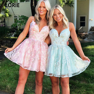 LORIE Short Mini Homecoming Dresses 2020 Lace Appliques Cocktail Party Dresses Special Occaion Junior Graduation Prom Gowns