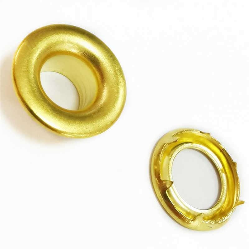 22-11 MM material de latón 0,5 MM borde enrollado más grueso y duro con pinzas en la junta 2 ojal de 11 MM de diámetro interior