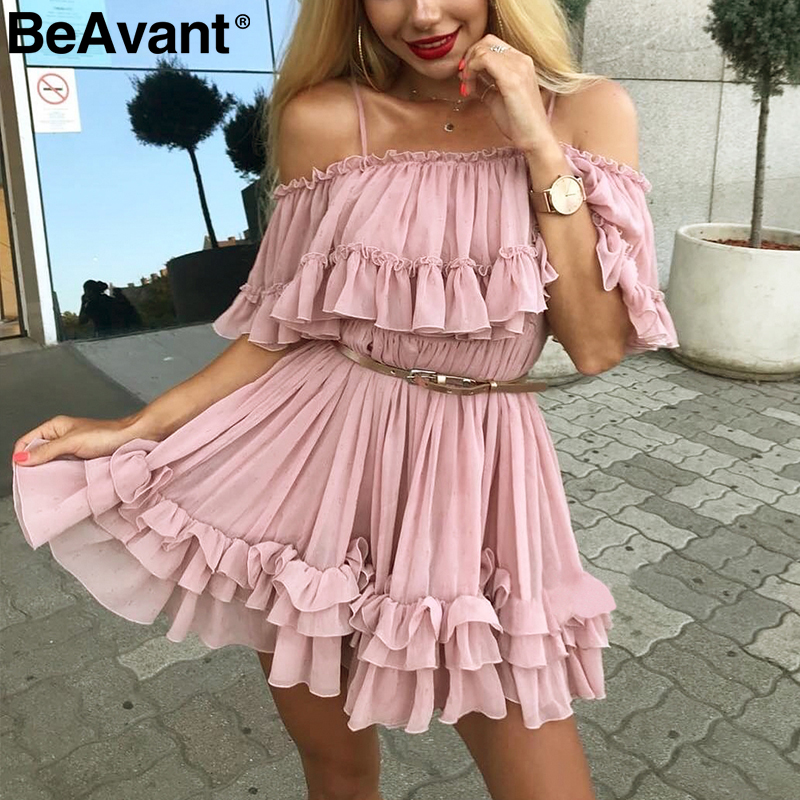 BeAvant Off Shoulder Strap Chiffon Summer Dresses Women Ruffle Pleated Short Dress Pink Elegant Holiday Loose Beach Mini Dress