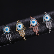 NJ Turkish Lucky Evil Eye Charm Bracelets for Women Silver Rose Gold Chain Adjustable Link Trendy Shiny Bracelet Jewelry Gifts