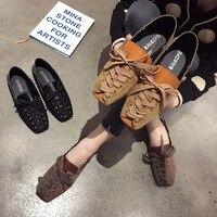 Şık Moccosins kadın 2020 bahar yeni tarzı Hipster kore tarzı çok yönlü çapraz askıları kare kafa düz salma ince ayakkabı moda