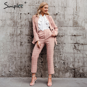 Image 4 - Simpleeチェック柄ダブルブレスト女性ブレザースーツセット長袖パンツスーツ女性のカジュアルなストリートズボンスーツ