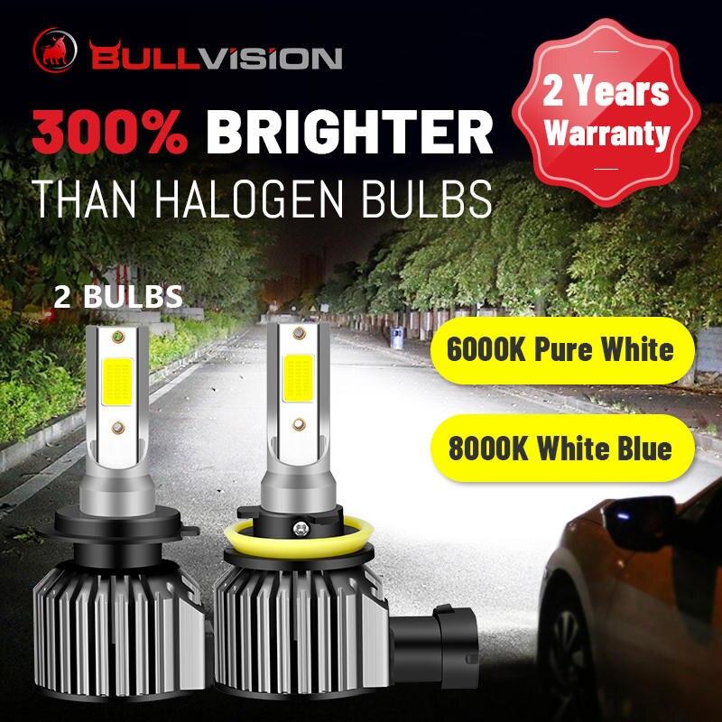 BULLVISION H7 светодиодный фар H4 H11 HB3 HB4 9005 9006 H8 H9 высокого луча ближнего и дальнего света 6000K 8000K Автомобильные светодиодные фары для Объектив Plug & ...