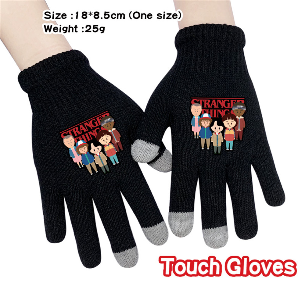 Anime Stranger Things Cartoon Stretch Knit Winter Warm Gloves Knitting Touchscreen Glove Student Handwear Gloves