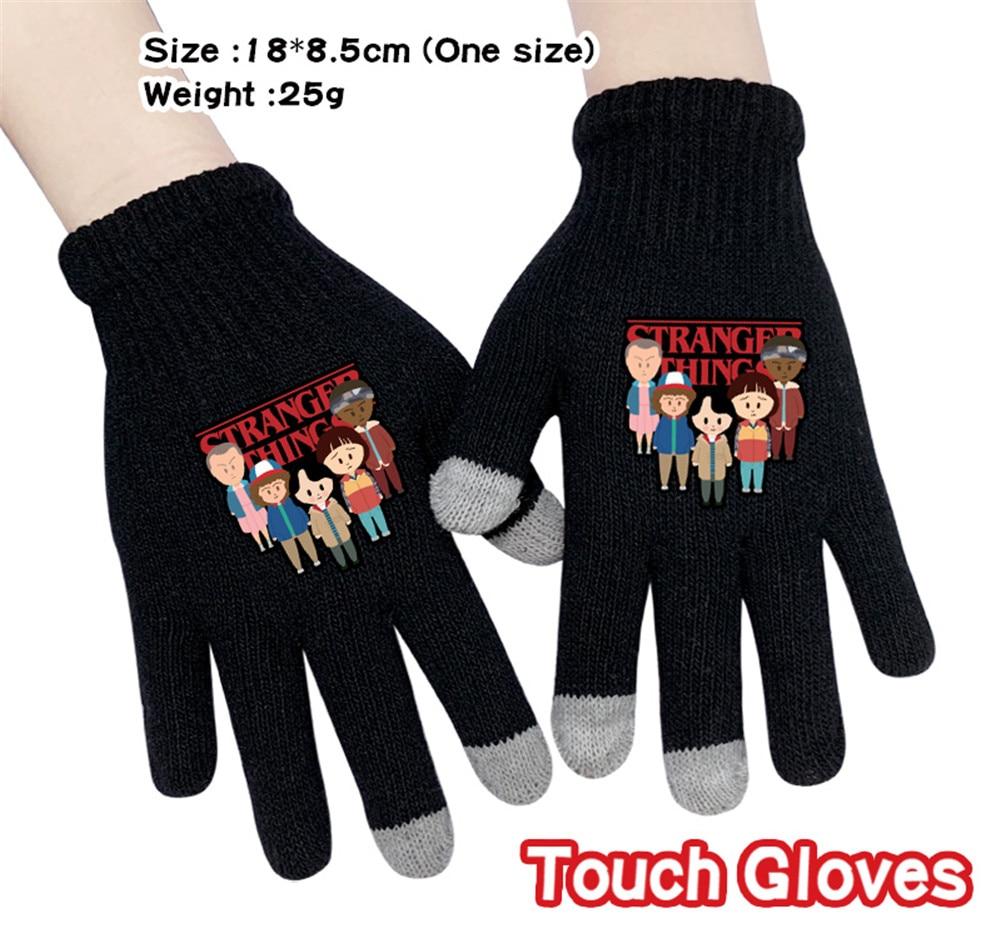Anime Stranger Things Cartoon Stretch Knit Winter Warm Gloves Knitting Touchscreen Glove Student Handwear Gloves