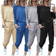 Para as mulheres conjuntos de sweatsuits soltos 2 peça roupas conjunto de pijamas macios manga longa treino novos conjuntos lounge