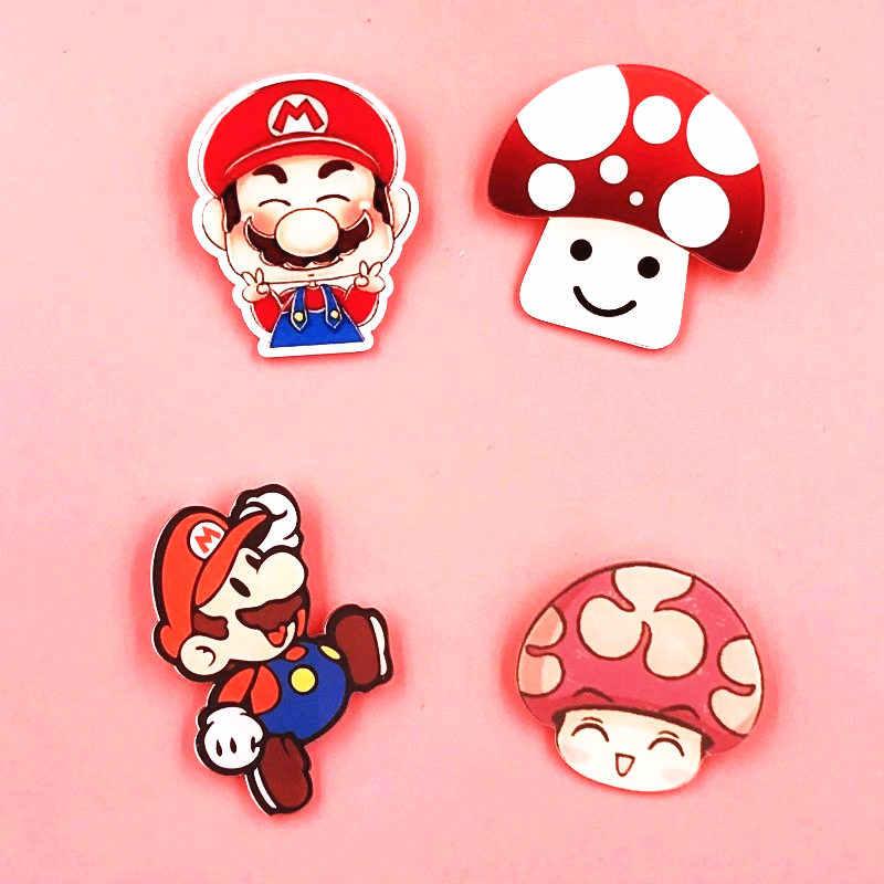 1pcs Hot Game Super Mario Mushroom Cartoon Harajuku Brooch Acrylic Badges On The Backpack Pin Badge For Clothing Hat Scarf Aliexpress