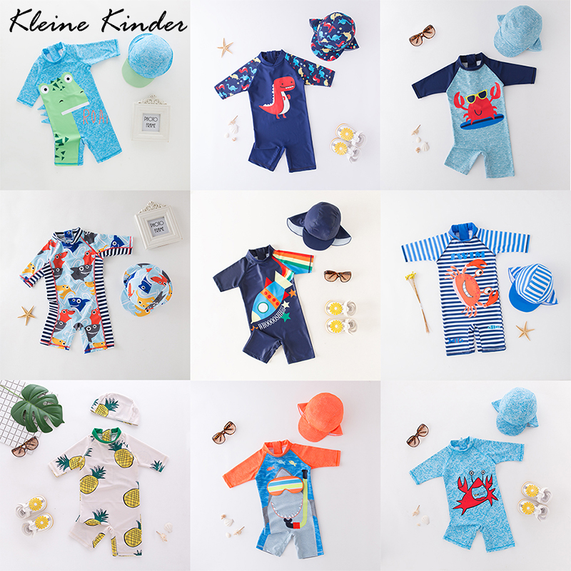 Baby Swimwear Boy UV Protection Children's Swimsuit One Piece With Cap Dinosaur Shark Print Child Bath Clothes Swimming Suit