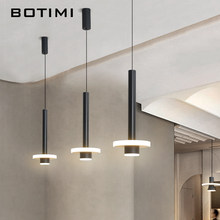 BOTIMI Modern LED Pendant Lights Cord Supension Bedside Lamp Desinger Hanging Bar Light Black White Kicthen Dining Lighting(China)