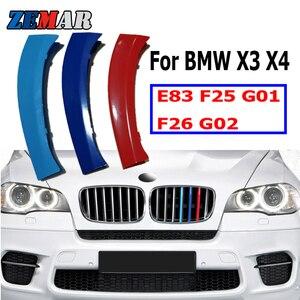 ZEMAR 3pcs ABS For BMW X3 E83 F25 G01 X4 F26 G02 Car Racing Grille Strip Trim Clip M Power Performance Accessories 07-17 18-20