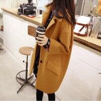 Women Jacket Autumn winter Korean Version Fashion Large size Women's Lapel Tweed Overcoat Long Woolen Overcoat women coats