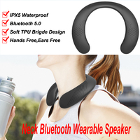 Neck mounted bluetooth speaker portable wireless speaker bass bluetooth 5.0 FM radio support SD card slot