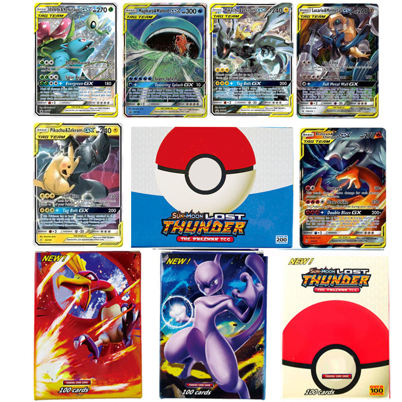 300 Pcs GX 20 100pcs MEGA Shining Pokemon Cards Tag Team Game Battle English Carte Trading Cards Game Children Pokemons Toy Box