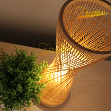 New Chinese Style LED Bamboo Table Lamp Retro Hand-woven Table Decoration Lamp Study Bedside Bedroom Living Room Table Lights