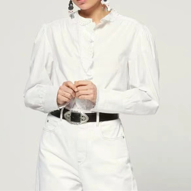 2020 New Ruffles Trim Women Blouse Lady Office Wear Hollow Out Single-Breasted Shirt and Top for Early Autumn 3