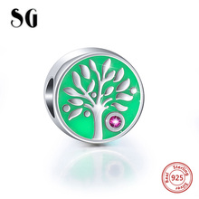 925 Sterling Silver family tree of life Beads with blue enamel fit Authentic pandora Charms Bracelets Jewelry for women Gifts bamoer new collection 925 sterling silver life and growth tree of life blue enamel charms beads fit bracelets jewelry scc170